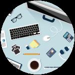 Icon of a desktop work environment