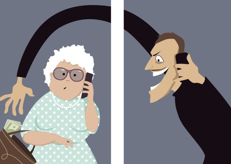 Image showing a thief on a phone stealing money from a seniors purse, representing the concept of telephone fraud scams.